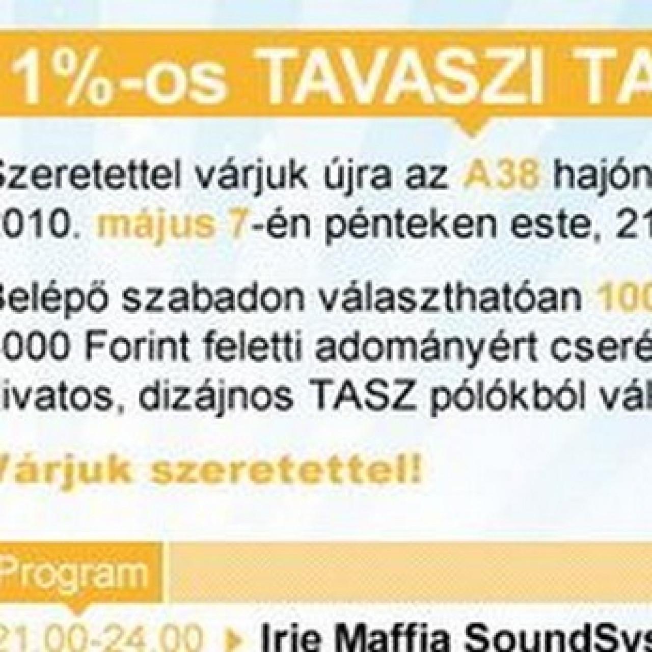 1%-os tavaszi TASZ party: Irie Maffia Sound System, DJ Naga